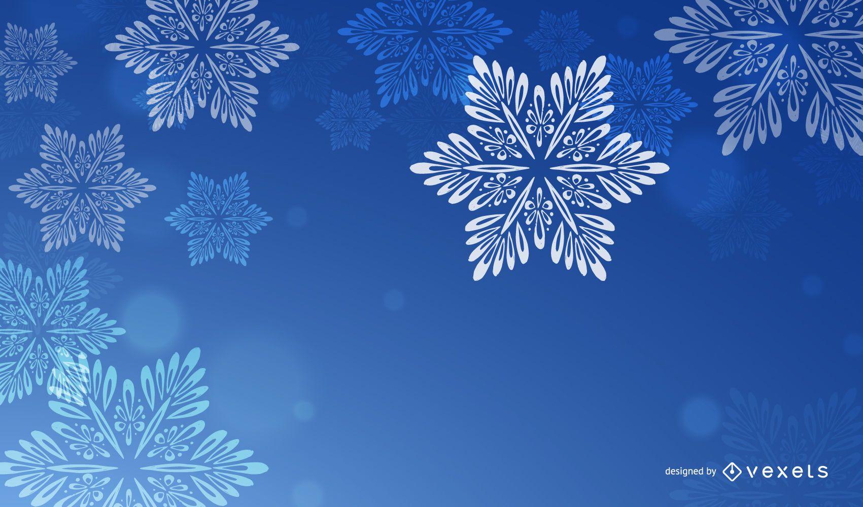 Fondo de Navidad azul con copos de nieve blancos