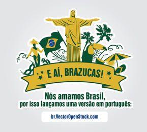 Amamos a etiqueta de símbolos do Brasil