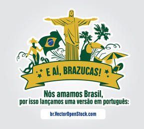 Amamos etiqueta de símbolos de Brasil