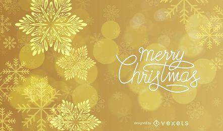 Fundo de Natal dourado brilhante estrelado e flocos de neve