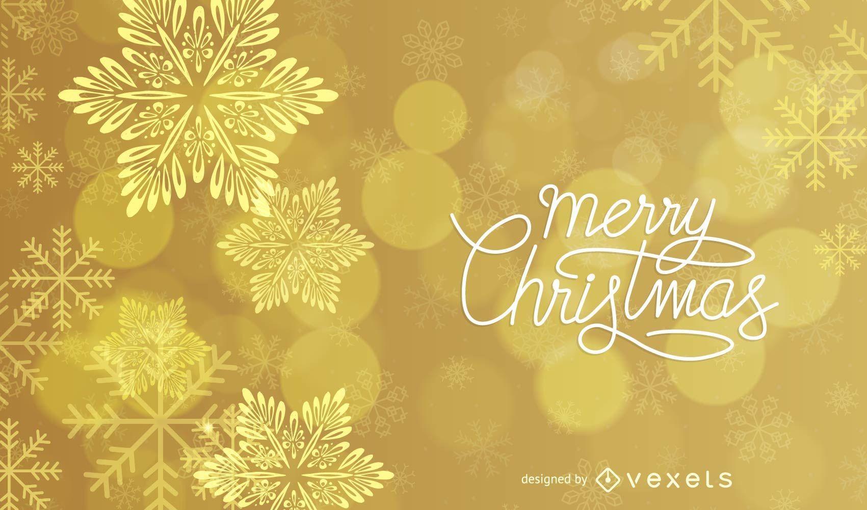 Fondo de Navidad dorado brillante estrellado y copos de nieve