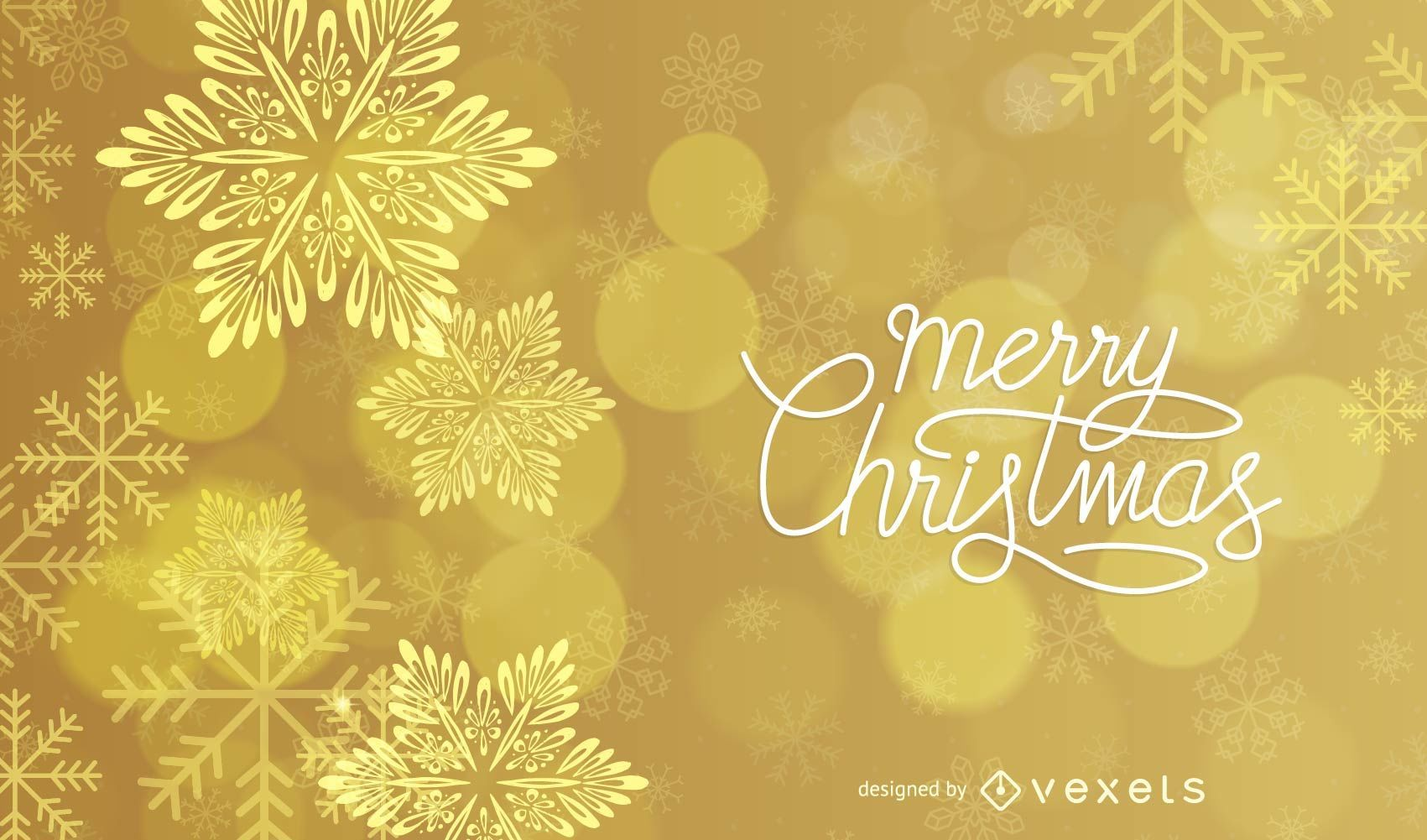 Shiny Gold Starry & Snowflakes Christmas Background