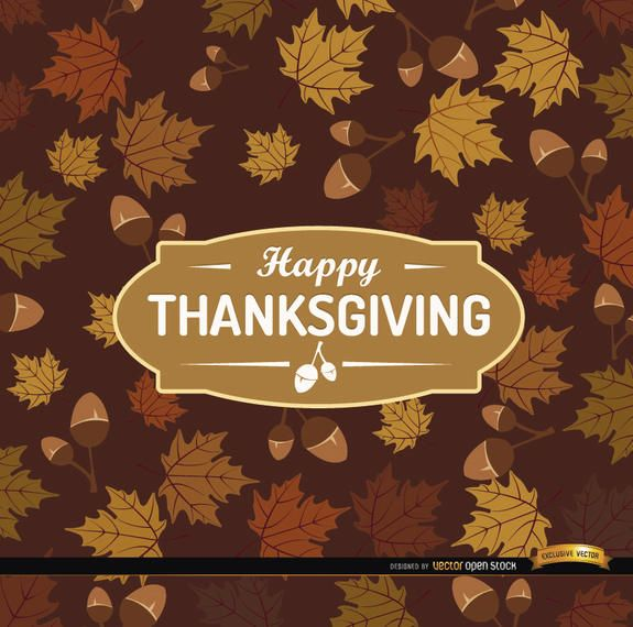 Happy Thanksgiving acorn leaves background