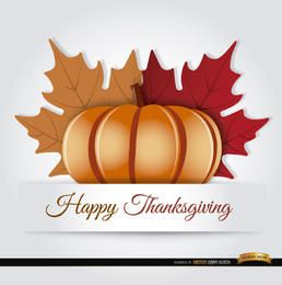 Thanksgiving pumpkin autumn leaves background