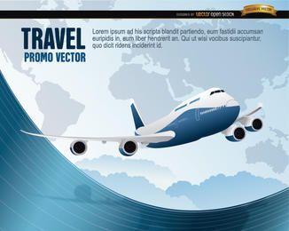 Avião de viagens do mundo ondulado