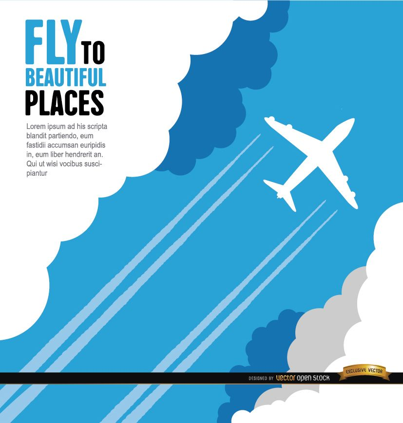Cartel de estela de avión y nubes.