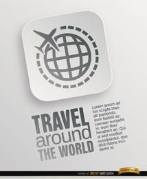Cartel de símbolo de viaje mundial