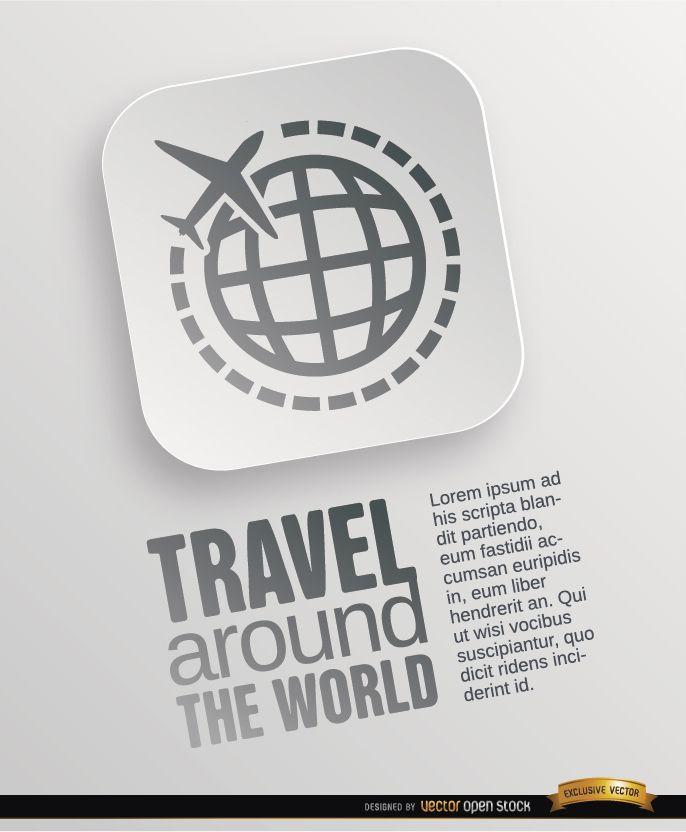 Cartel de símbolo de viajes mundiales