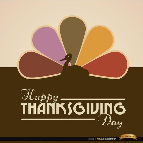 Fondo coloreado feliz de la cola del pavo de la acción de gracias