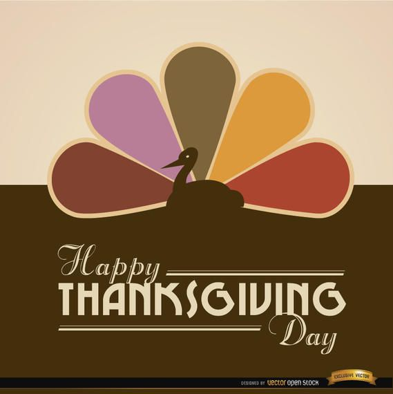 Happy Thanksgiving turkey colored tail background
