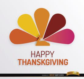 Pavo de Acción de Gracias de colores de fondo de la cola