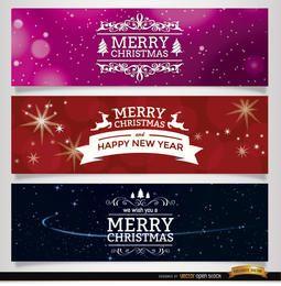 3 banners de enfeites de Natal