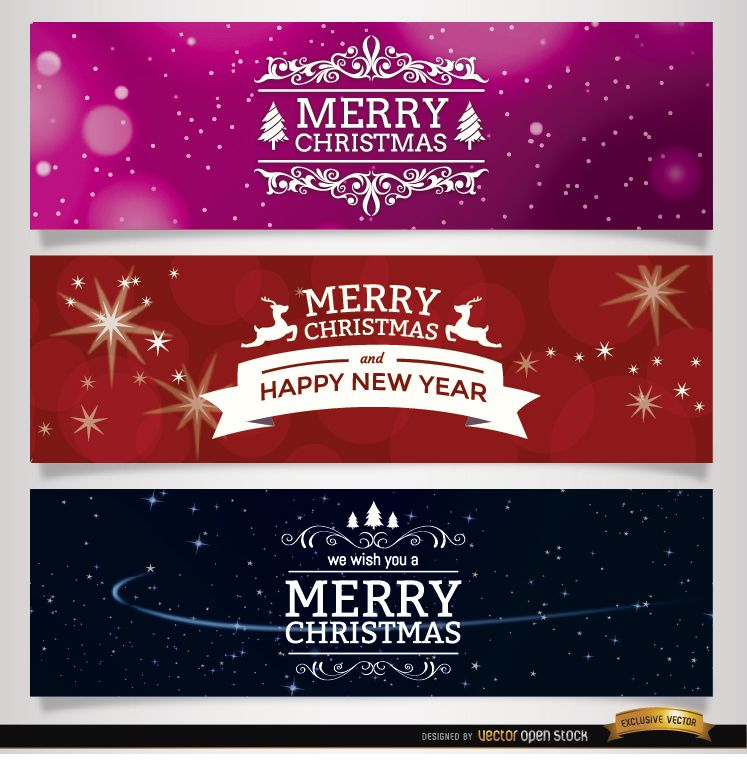3 Christmas ornaments banners
