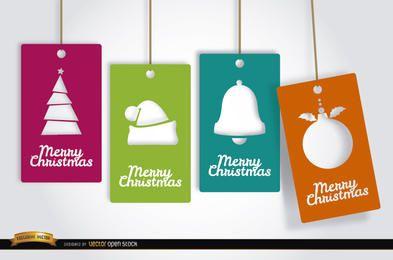 4 cartões de tag de Natal