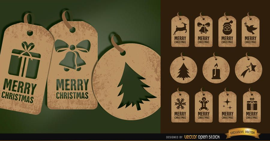 11 brown Christmas tag cards set