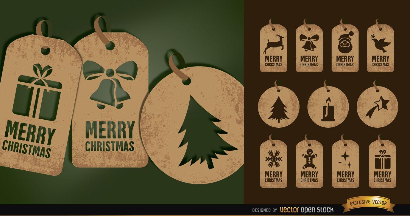 11 brown Christmas tag cards set