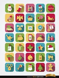 35 ícones quadrados coloridos de Natal