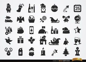 35 iconos navideños planos