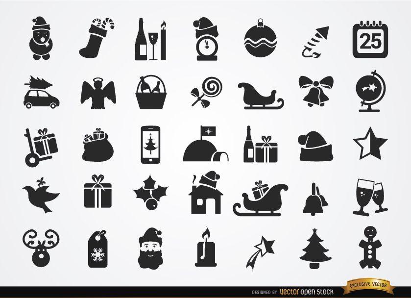 35 iconos planos de Navidad