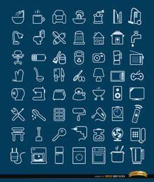 56 objetos de casa y herramientas de iconos