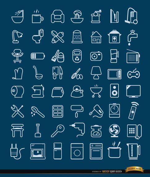 56 iconos de objetos y herramientas de la casa