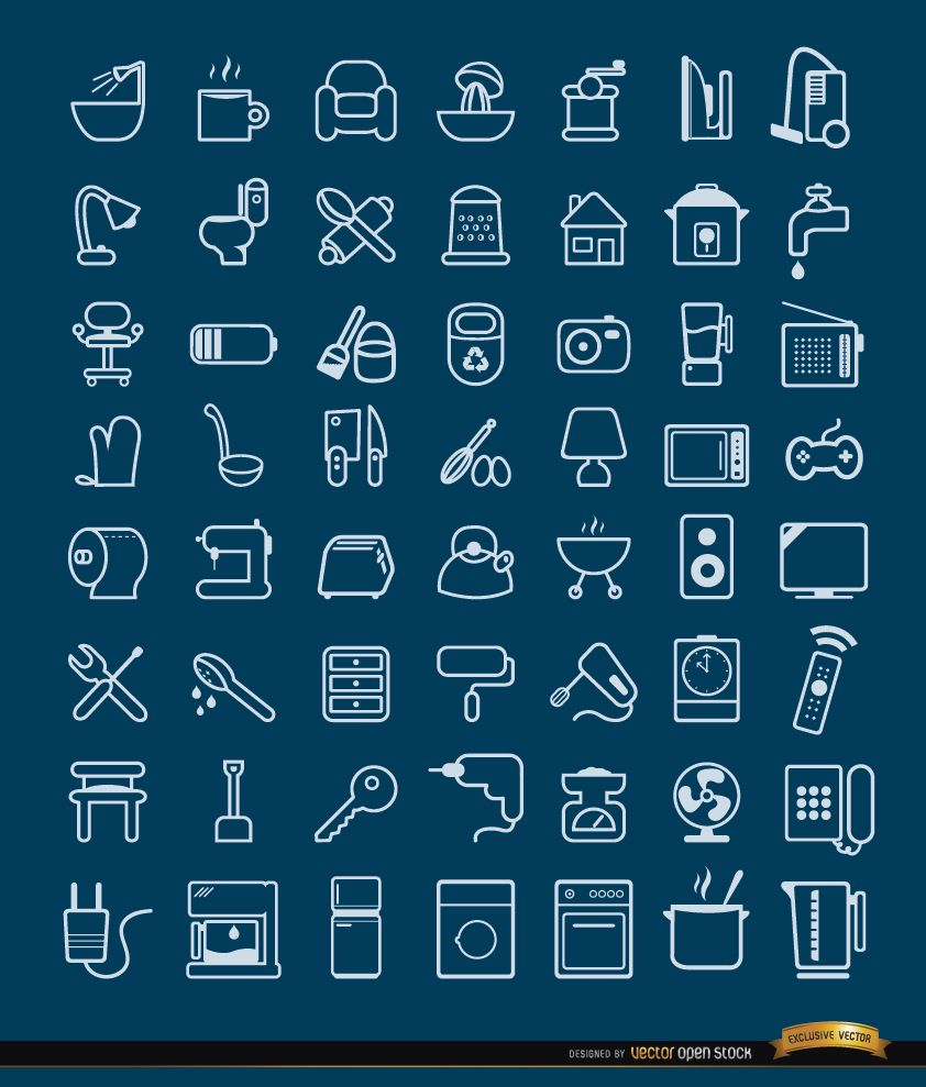 56 House objects and tools Icons