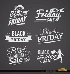 6 Black Friday rótulos de vendas
