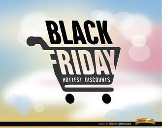 Fundo preto carrinho de compras de sexta-feira