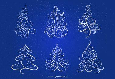 Remolinos florales 6 árboles de Navidad sobre fondo azul