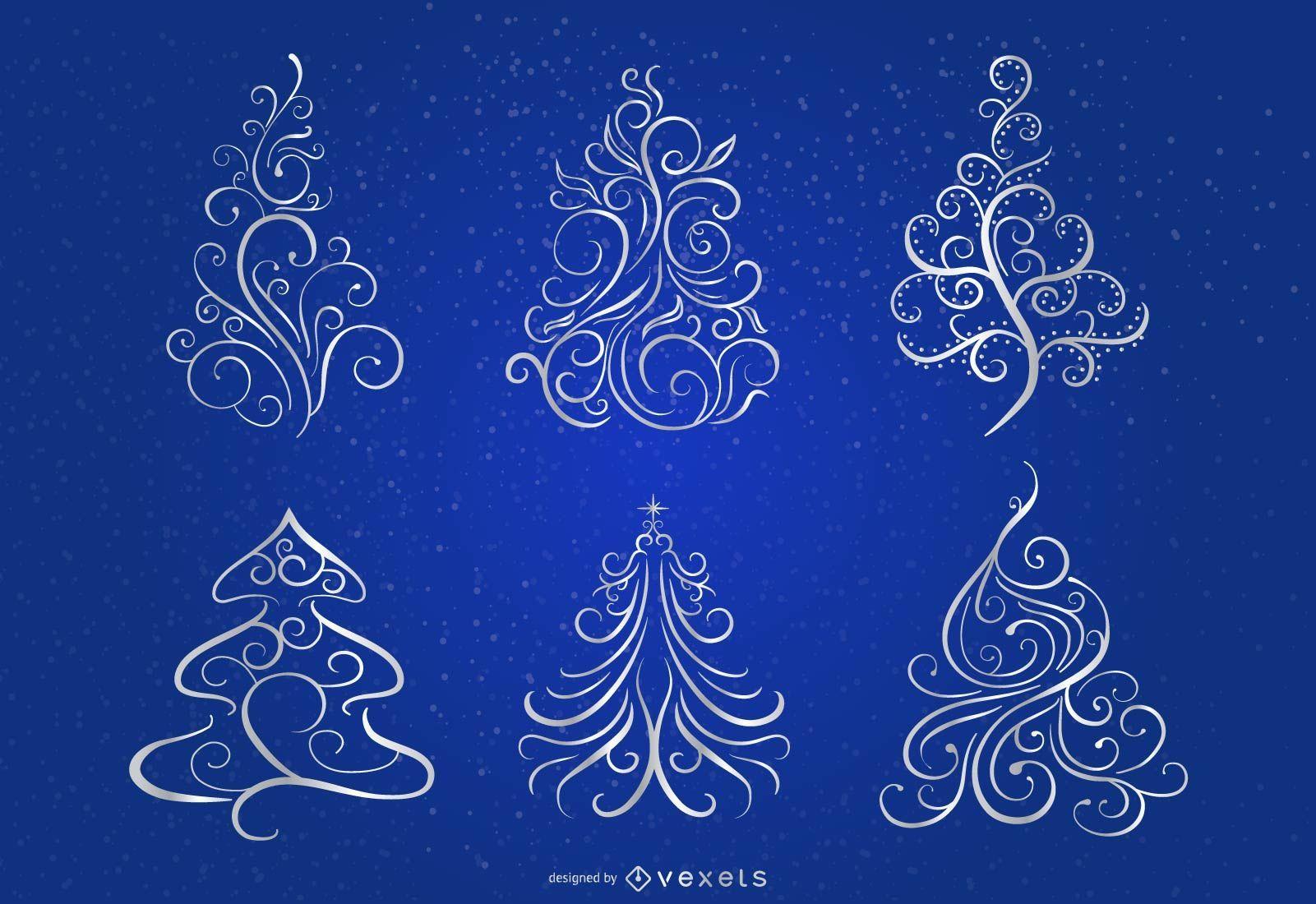 Remolinos florales 6 árboles de Navidad sobre fondo azul.