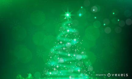 Funkelnder Weihnachtsbaum auf grünem Hintergrund