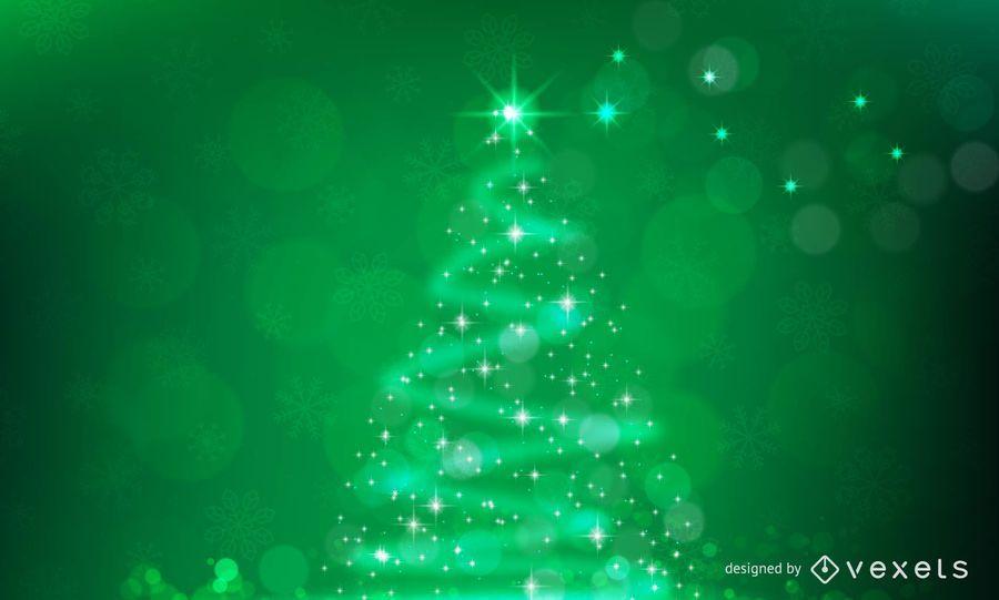 Árbol de navidad chispeante en fondo verde