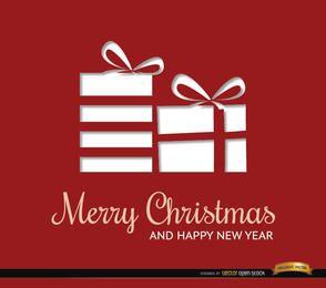 Fundo de presentes vermelhos de Natal retângulos