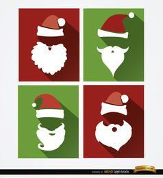 4 fundos de chapéu e barba de Papai Noel