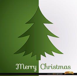 Árbol de navidad verde fondo blanco