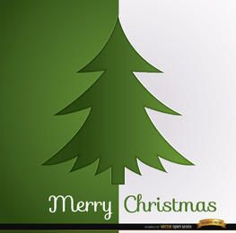 Christmas tree green white background