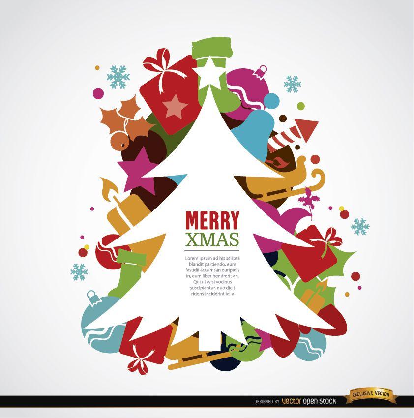 Fondo de adornos coloridos de árbol de Navidad
