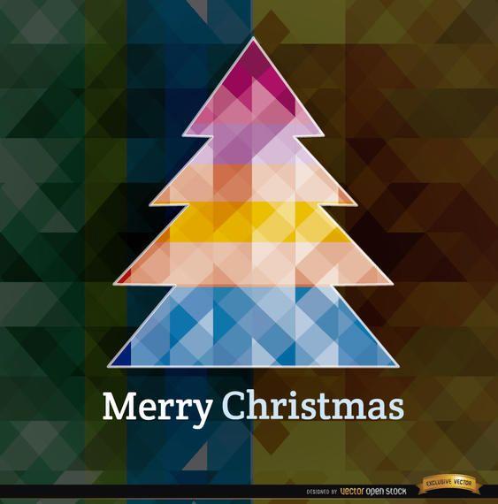 Christmas polygonal tree background