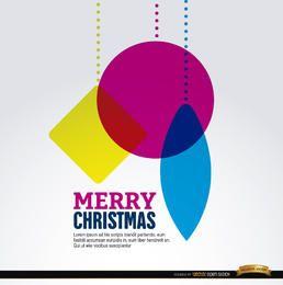 Natal pendurado fundo de formas geométricas