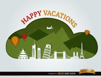 Vacations traveling world landmarks background