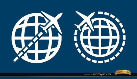 2 Travel around world symbols