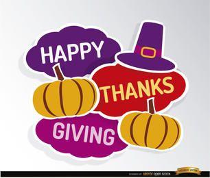 Feliz Día de Gracias calabazas sombrero fondo