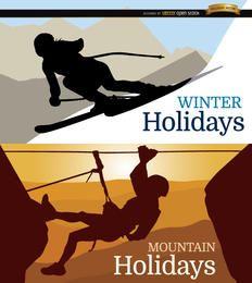 Fondo de vacaciones de esquí y montaña.