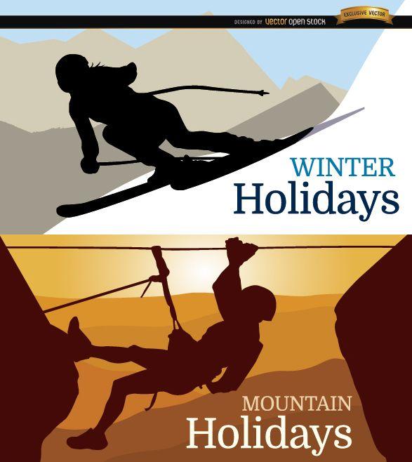 Fondo de vacaciones de esquí y montaña