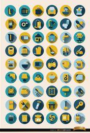 Conjunto de 54 ícones redondos de objetos domésticos