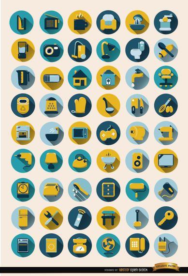 54 objetos para el hogar conjunto de iconos redondos
