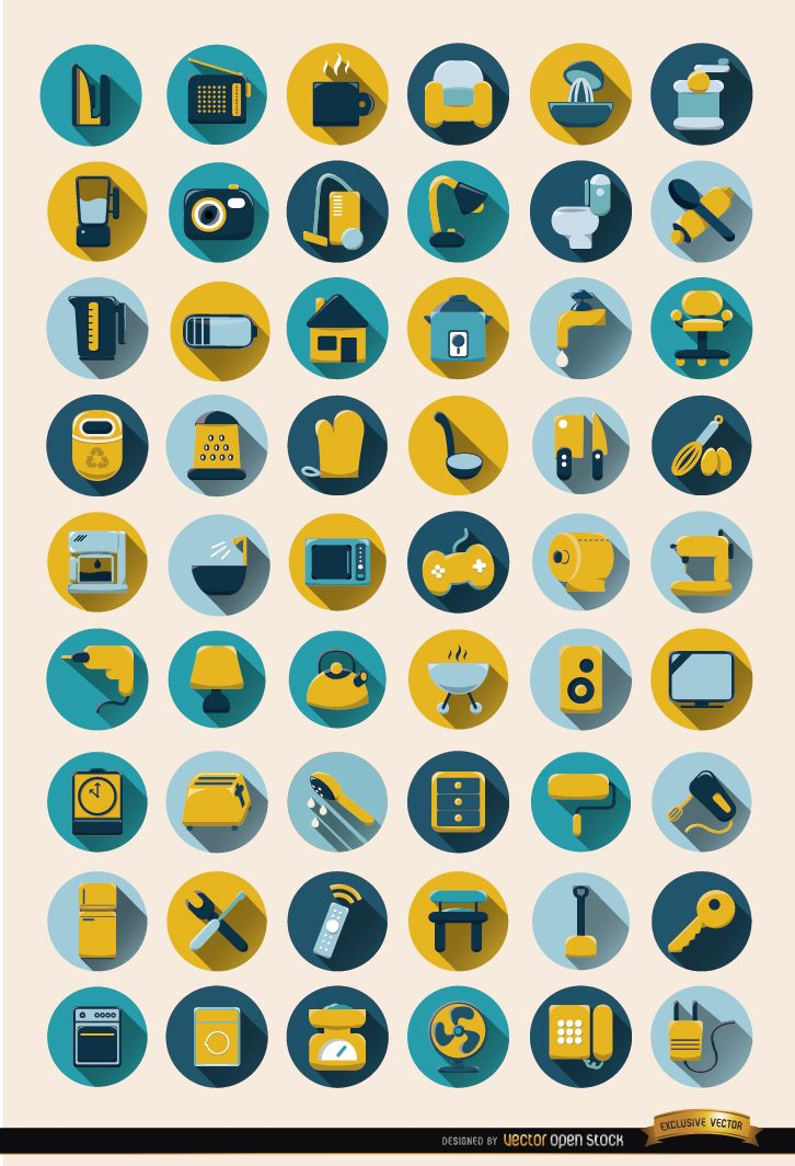 54 Home objects round icons set
