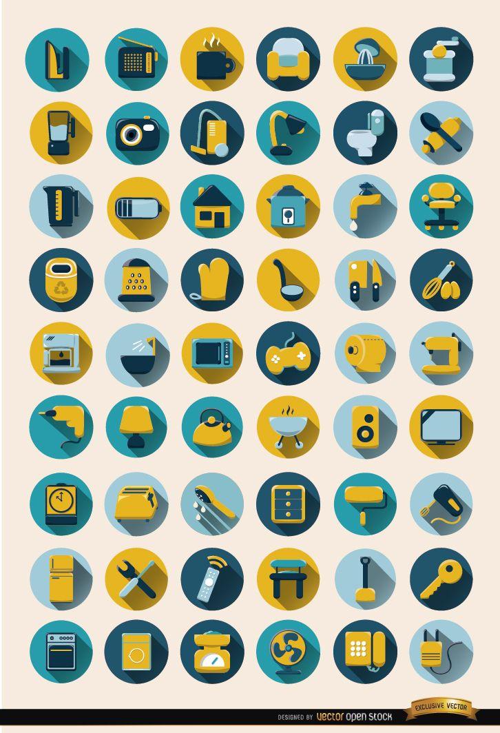 Conjunto de iconos redondos de 54 objetos domésticos
