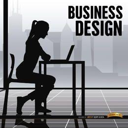 Trabalho de escritório de mulher de negócios