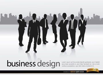Equipo de negocios horizonte de la ciudad